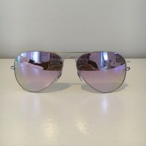 Authentic Silver / purple Ray Ban Aviators!